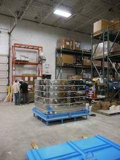 ジャンボベルリフト電気窯の梱包状態