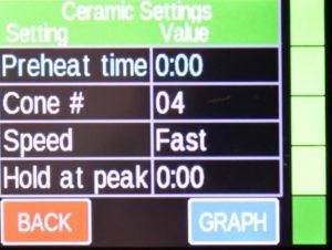 GENESISのコーン焼成プログラムの画面