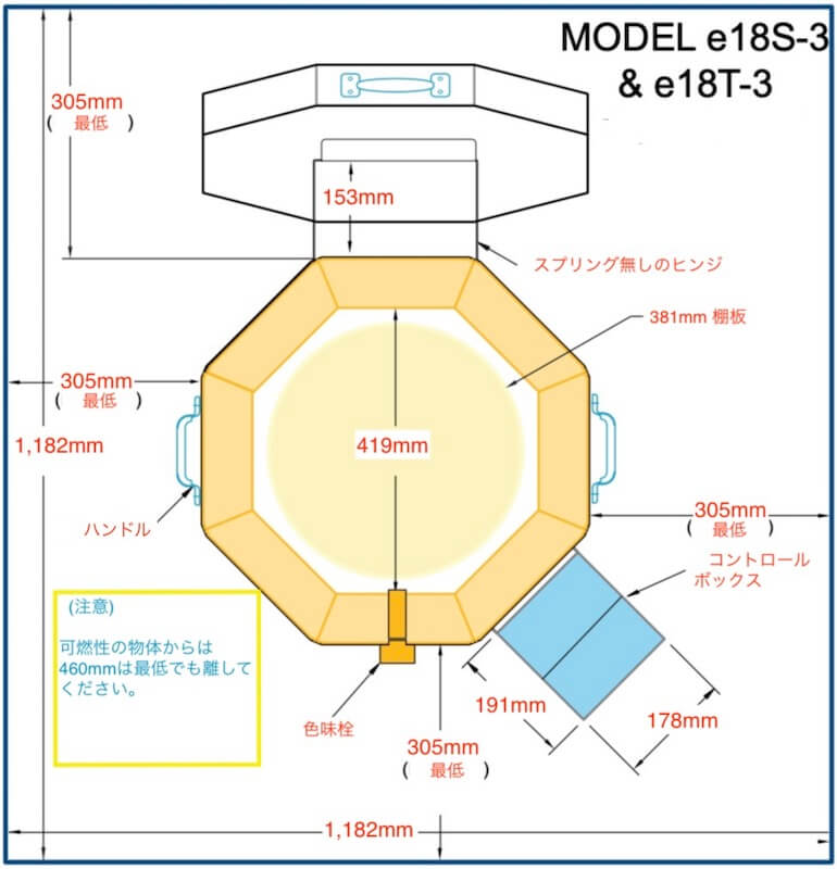 e18陶芸窯の設置略図