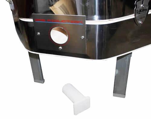 電気窯の還元口と色見栓